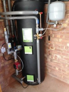 Effective and compact water tank for a new Air Source Heat Pump installed by GSM Limited, Newent in Hereford.