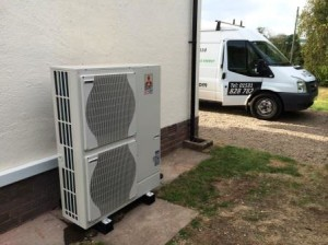Newly installed 14kW Mitsubishi Air Source Heat Pump at Much Marcle, Herefordshire. Call GSM for more information and advice.