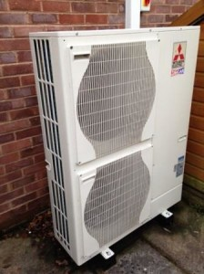 A new 14kW Air Source Heat Pump from Mitsubishi installed by GSM Limited at Kilcot Gloucestershire