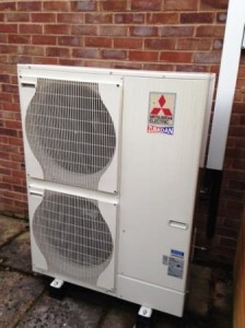 14kW Mitsubishi Air Source Heat Pump installed by GSM Limited at Kilcot, Gloucestershire