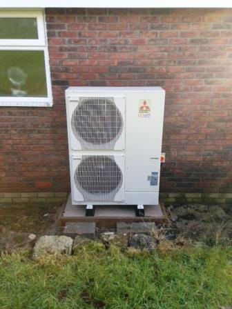 Mitsubishi Air Source Heat Pump installed by GSM Limited in Ruardean Gloucestershire.