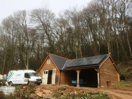 Solar Panels installed expertly by GSM Limited on a new outbuilding in Chepstow.