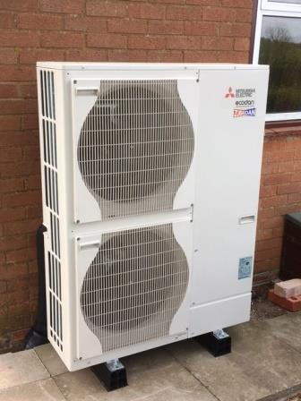 GSM Limited has installed this 14kW Mitsubishi Air Source Heat Pump to a renovated bungalow in Upton-upon-Severn. Find out how you and your home could benefit by calling us on 01531 - 828 782.