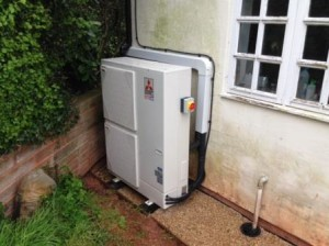 Mitsibushi 14kW Ecodan Air Source Heat Pump installed by GSM Limited for a Gorsley customer.