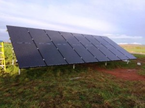 GSM Compelted Ground Mounted Solar Panel installation for a homeowner in Ledbury