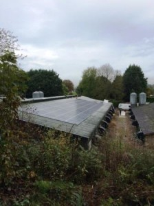 The completed 50kW Solar Panel system at a poultry farm in Usk, recently installed by GSM Limited, experts in commercial solar installations.