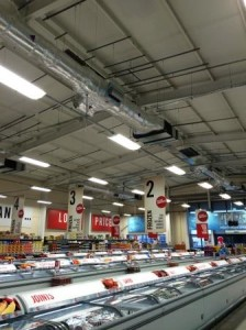 Four Mitsubishi PEFY-P250 ducted fan coil nits at high level providing heating and cooling throughout. The aesthetics are important due to being of full view. The use of the Gripple cable system chosen by GSM means a more discreet method of hanging the fan coils and associated services.
