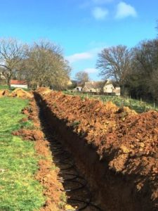 The trenches are dug and ready for the heat collectors to be placed in them. it's always good to be aware of the space required and the works that are undertaken when looking at a Ground Source option. We hope that this aids your choice making and are happy to help and advise you accordingly.